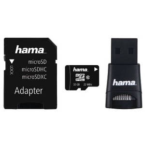 Card Hama microSDHC 32GB 22 Mbs Clasa 10 cu adaptor SD si card reader USB